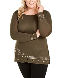 Plus Size Grommet Tunic Top