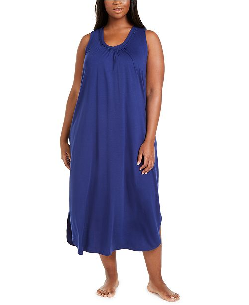 Charter Club Plus Size Sleeveless Nightgown, Created for Macy's