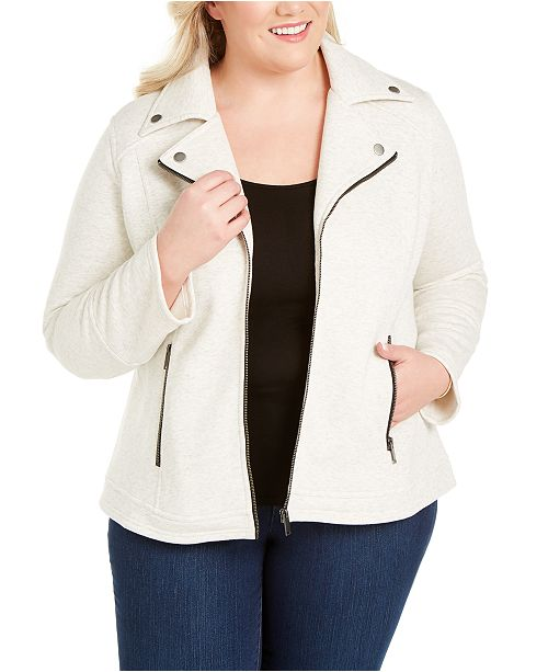 Style & Co Plus Knit Moto Jacket, Created for Macy's