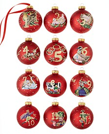 "2.55"" 12 Days of Christmas Decorative Ball Ornament, 12 Piece Set"