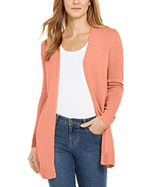 Petite Open-Front Curved-Hem Completer Sweater, Created for Macy's