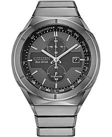 Eco-Drive Men's Chronograph Armor Silver-Tone Titanium Bracelet Watch 42mm