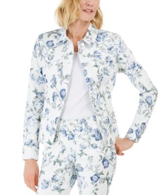 Floral Jacquard Denim Jacket, Created for Macy's