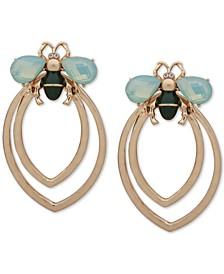 Gold-Tone Crystal & Stone Bee Doorknocker Drop Earrings