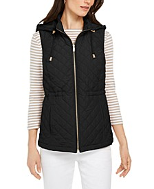 Woven Hooded Quilted Vest, Created for Macy's