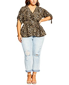 Trendy Plus Size Leopard-Print Faux-Wrap Top
