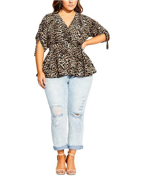 City Chic Trendy Plus Size Leopard-Print Faux-Wrap Top