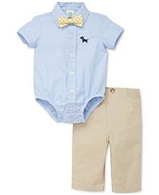 Baby Boys 3-Pc. Cotton Puppy Bodysuit, Pants & Bow Tie Set
