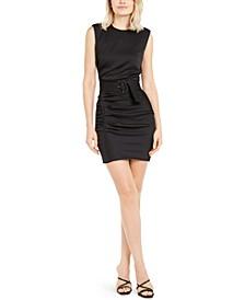 Rouche Belted Sleeveless Dress