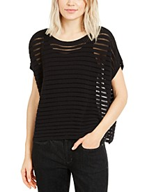 Organic Oversized Sheer-Stripe Top