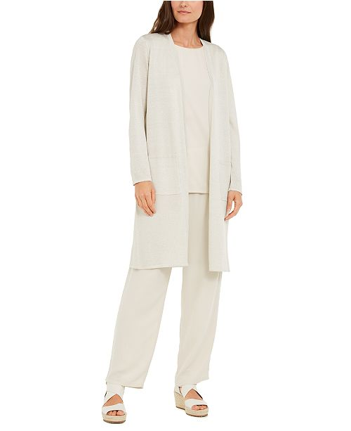 Eileen Fisher Recycled Cashmere Open-Front Longline Cardigan