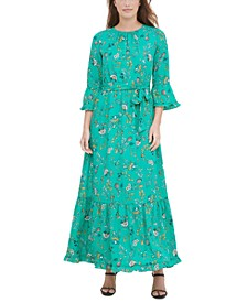 Printed Tiered Maxi Peasant Dress