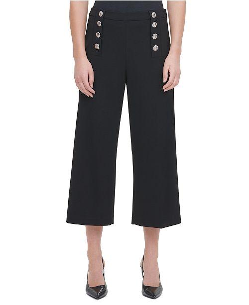 Calvin Klein Button Cropped Wide-Leg Pants
