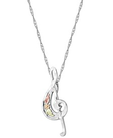 Treble Clef Pendant in Sterling Silver with 12k Rose and Green Gold