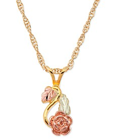 Rose Pendant in 10k Yellow Gold with 12k Rose and Green Gold