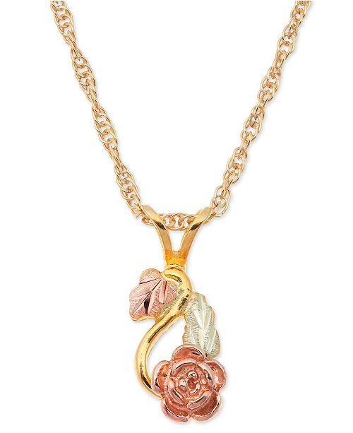 Macy's Rose Pendant in 10k Yellow Gold with 12k Rose and Green Gold