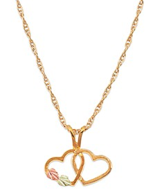Double Heart Pendant in 10k Yellow Gold with 12k Rose and Green Gold