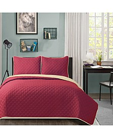 University Solid Reversible 3pc Full/Queen quilt set Burgundy reverse to Tan