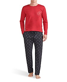 Men's Long Sleeve Crew and Printed Knit Pete Pant Gift Set