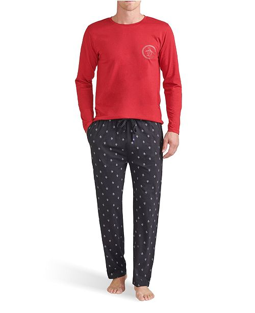 Original Penguin Men's Long Sleeve Crew and Printed Knit Pete Pant Gift Set