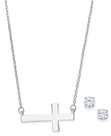Cross Collar Necklace & Crystal Stud Earrings Set, Created for Macy's