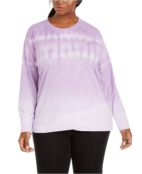 Ideology Plus Size Tie-Dye Sweatshirt, Created for Macy's