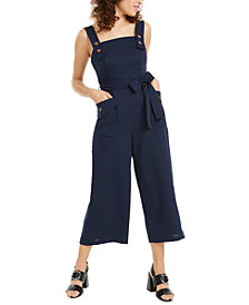 Crystal Doll Juniors' Solid Button-Detail Jumpsuit