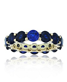 Created Spinel Eternity Band in 14k Yellow Gold Plated Plated Sterling Silver