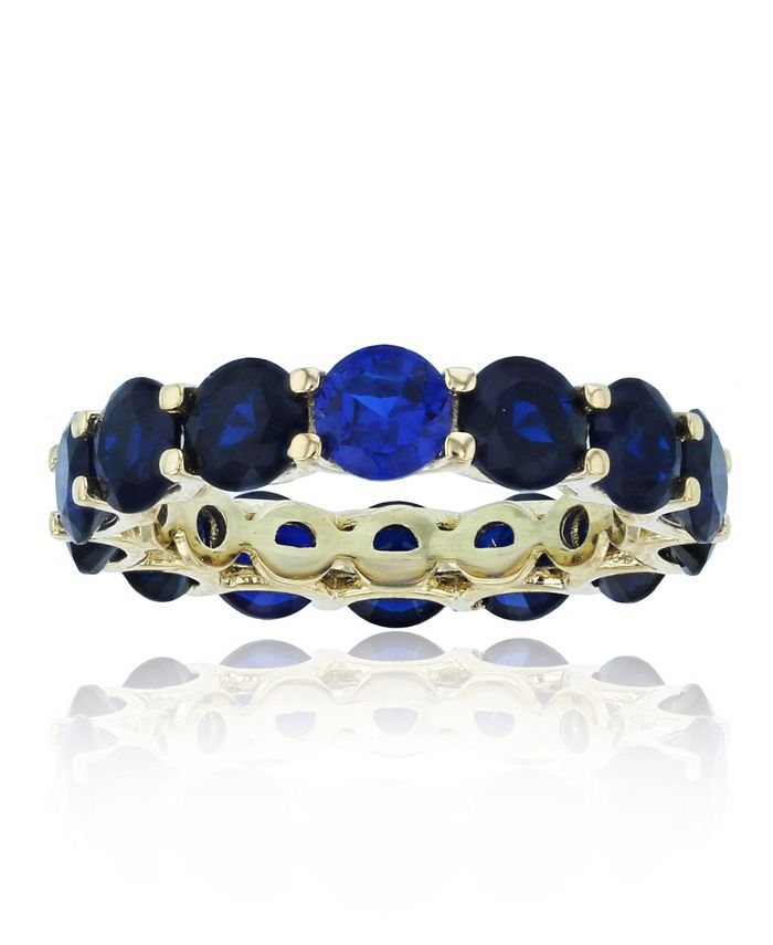 Macy's - Created Spinel Eternity Band in 14k Yellow Gold Plated Plated Sterling Silver