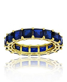 Cubic Zirconia Eternity Band in 14k Yellow Gold Plated Plated Sterling Silver