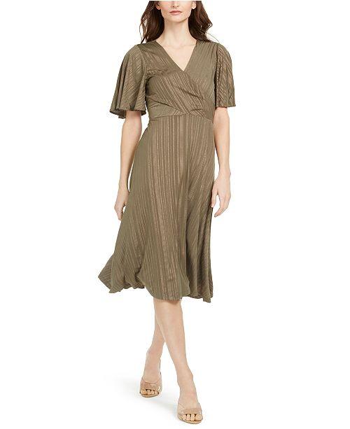 Calvin Klein Surplice Striped Midi Dress