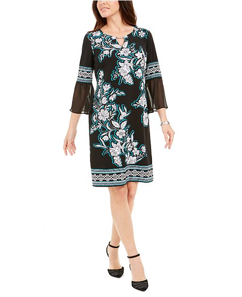 JM Collection Chiffon-Sleeve Dress, Created for Macy's