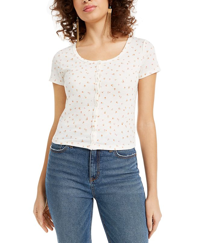 Hippie Rose Juniors' Floral-Print Top