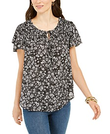 Petite Ditsy-Print Split-Neck Top, Created for Macy's