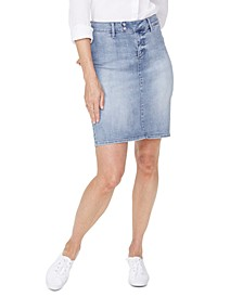 Denim Snap-Waist Skirt