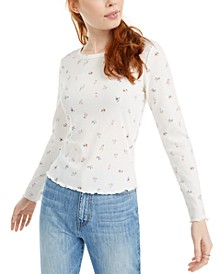 Juniors' Floral-Print Lettuce-Edge Top