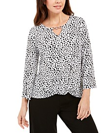 Printed Chain-Keyhole Blouson Top, Created for Macy's