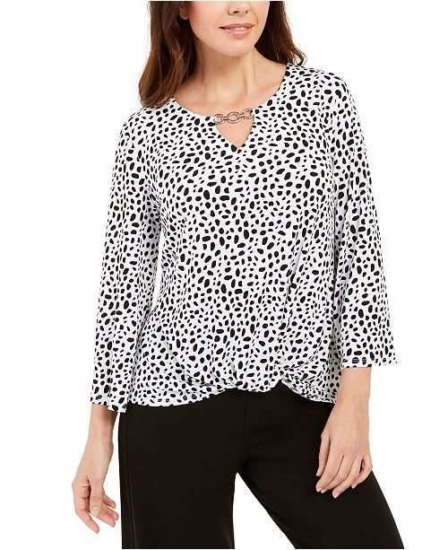 JM Collection Printed Chain-Keyhole Blouson Top, Created For Macy's