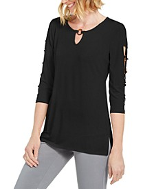Petite Ladder-Sleeve O-Ring Top, Created for Macy's