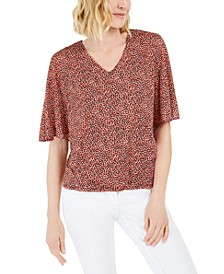 Printed V-Neck Asymmetrical Overlay Top, Created for Macy's