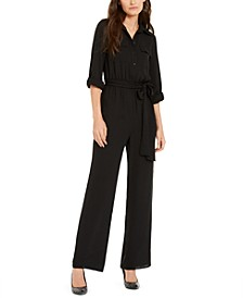 Roll-Sleeve Safari Jumpsuit