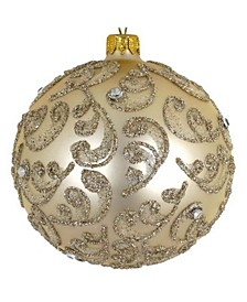 """Pair of Champagne Stones European Mouth Blown Hand Decorated 4"""" Round Holiday Ornaments"""