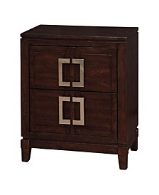 Transitional Style Night Stand, Brown Cherry Finish