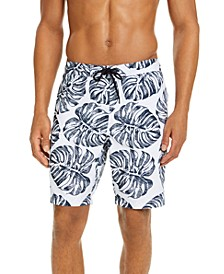 "Men's Stripe Leaf-Print 9"" Board Shorts, Created for Macy's"