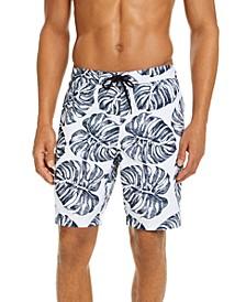 "Men's Stripe Leaf-Print 9"" Board Shorts, Created for Macy's"