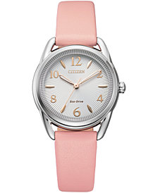 Drive From Citizen Eco-Drive Women's Blush Leather Strap Watch 30mm