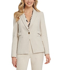 Striped Side-Belted Blazer