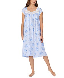 Lace-Trim Floral-Print Waltz Nightgown