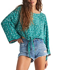 Juniors' Back Round Bell-Sleeve Top