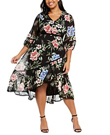 Plus Size Printed Chiffon Midi Dress